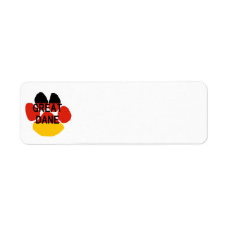 great dane name flag paw return address label