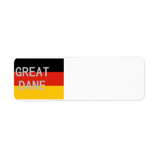 great dane name on flag return address label