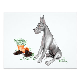 Great Dane Naughty Pup Fawn UC Personalized Invites