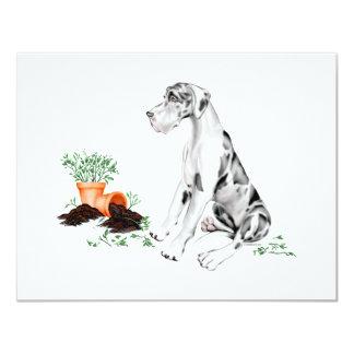 Great Dane Naughty Pup Harlequin UC 11 Cm X 14 Cm Invitation Card