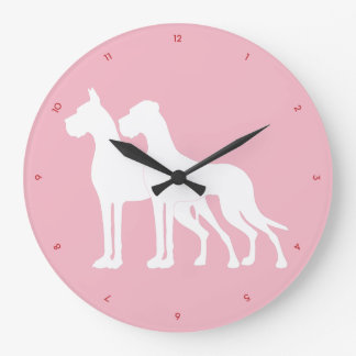 Great Dane on pink Large Clock