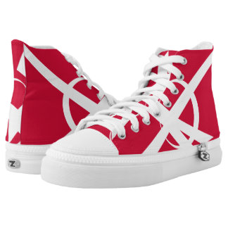 Great Dane Portal Designer Red and White Hi-Top Printed Shoes