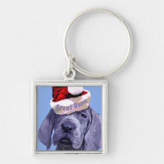 Great Dane Puppy Christmas Keychain