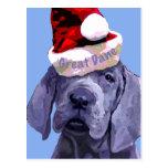 Great Dane Puppy Christmas Postcard