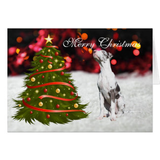 Great Dane puppy dog tree custom Christmas Card
