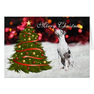 Great Dane puppy dog tree custom Christmas Card