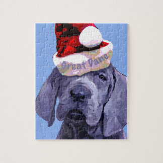 Great Dane Puppy in Santa hat Puzzle