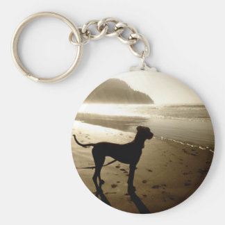 Great Dane Puppy Sunset Basic Round Button Key Ring