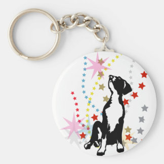Great Dane Puppy with stars Basic Round Button Key Ring