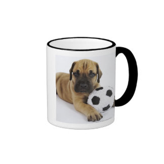 Great Dane puppy with toy soccer ball Coffee Mug