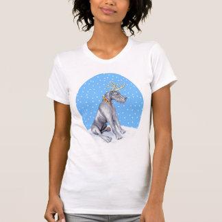 Great Dane Reindeer Christmas Blue UC T-Shirt