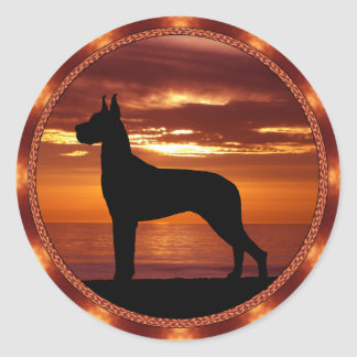 Great Dane Sienna Sunset Stickers
