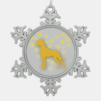 Great Dane Starheart Pewter Snowflake Decoration