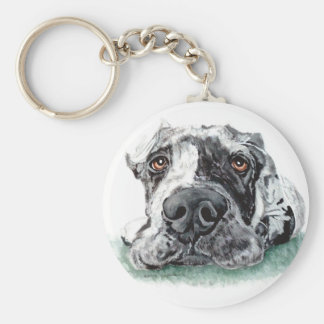 Great Dane Taped Up Merle Basic Round Button Key Ring