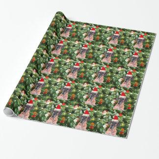 Great Dane w Christmas Tree Gift Boxes Santa Hat