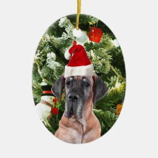 Great Dane w Christmas Tree Gift Boxes Santa Hat Ceramic Oval Decoration