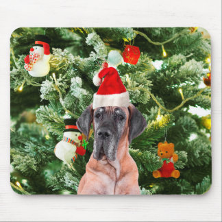 Great Dane w Christmas Tree Gift Boxes Santa Hat Mouse Pad