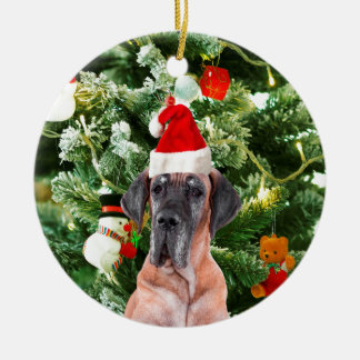 Great Dane w Christmas Tree Gift Boxes Santa Hat Round Ceramic Decoration