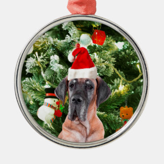 Great Dane w Christmas Tree Gift Boxes Santa Hat Silver-Colored Round Decoration