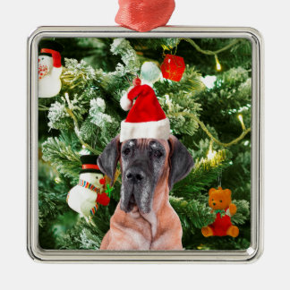 Great Dane w Christmas Tree Gift Boxes Santa Hat Silver-Colored Square Decoration