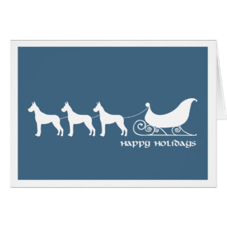Great Danes Pulling Santa's Sleigh Card