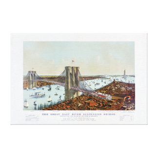 Great East River suspension bridge 1892 Gallery Wrapped Canvas