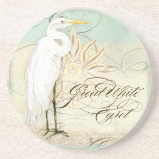 Great Egret Coastal Beach - Home Decor Coasters