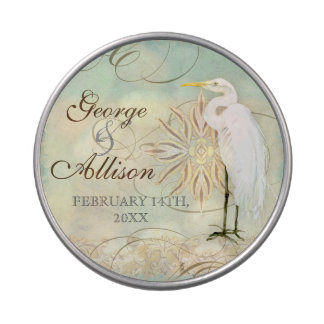 Great Egret Coastal Beach - Wedding Sticker Seal Candy Tin