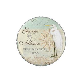 Great Egret Coastal Beach - Wedding Sticker Seal Candy Tin