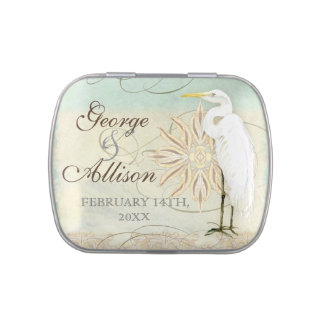 Great Egret Coastal Beach - Wedding Sticker Seal Jelly Belly Tin