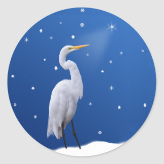 Great Egret Holiday Stickers