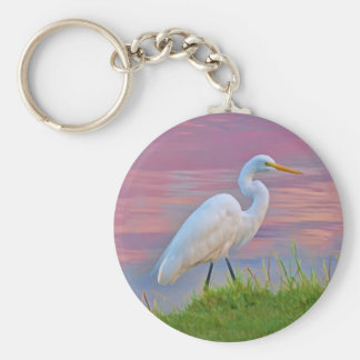 Great Egret Strolling at Sunrise Keychain