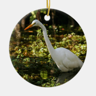 Great Egret Wading in Everglades Ceramic Ornament