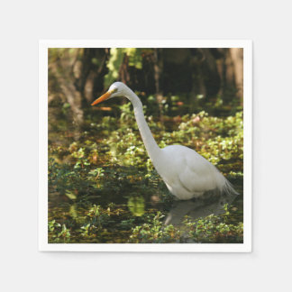 Great Egret Wading in Everglades Disposable Napkin