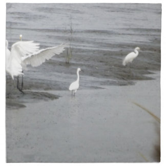 Great Egrets in a swamp Napkin