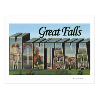 Great Falls, Montana - Large Letter Scenes Postcard