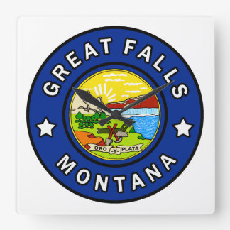 Great Falls Montana Square Wall Clock