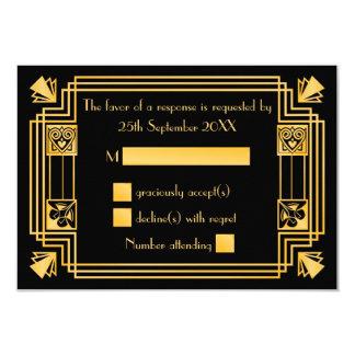 Great Gatsby 1920s Art Deco Wedding RSVP 9 Cm X 13 Cm Invitation Card