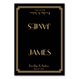 Great Gatsby Art Deco Black Wedding Place Cards Table Card