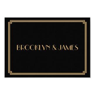 Great Gatsby Art Deco Black Wedding RSVP Cards 9 Cm X 13 Cm Invitation Card