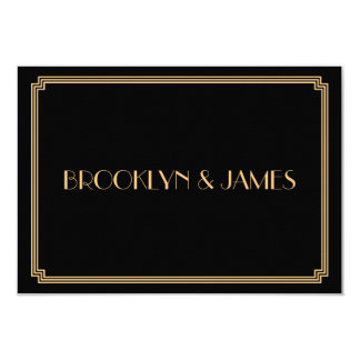 Great Gatsby Art Deco Black Wedding RSVP Cards