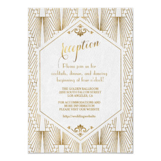 Great Gatsby Art Deco Gold White Reception Card