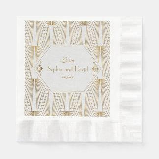 Great Gatsby Art Deco Gold White Wedding Disposable Napkins