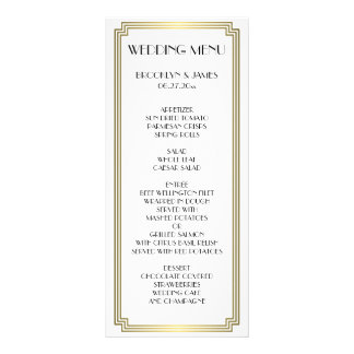 Great Gatsby Art Deco Gold White Wedding Menu Card Custom Rack Card