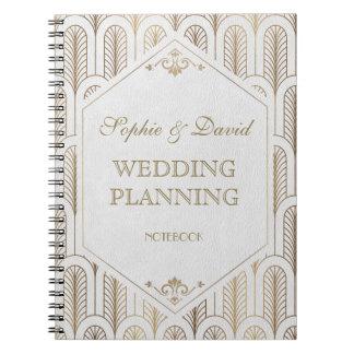 Great Gatsby Art Deco Gold White Wedding Planner Notebook