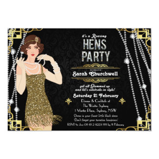 Great Gatsby Art Deco Hens Party Invitation