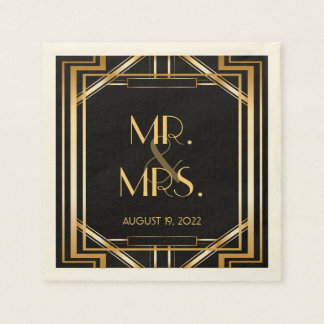 Great Gatsby Art Deco Wedding Personalized Napkin Disposable Napkins