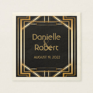 Great Gatsby Art Deco Wedding Personalized Napkin Disposable Serviette
