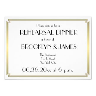 Great Gatsby Art Deco Wedding Rehearsal Invitation