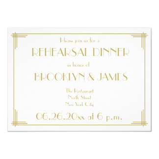 "Great Gatsby Art Deco Wedding Rehearsal Invites 4.5"" X 6.25"" Invitation Card"